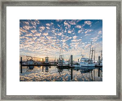 Evening Reflections On Humboldt Bay Framed Print by Greg Nyquist