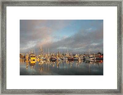 Evening Reflections On Woodley Island Marina Framed Print by Greg Nyquist