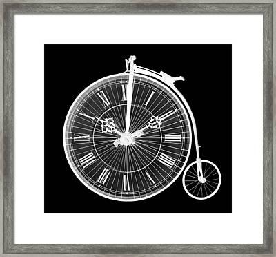 Evening Ride Penny Farthing On Black Framed Print