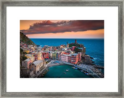 Evening Rolls Into Vernazza Framed Print by Inge Johnsson