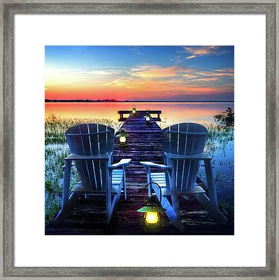 Framed Print featuring the photograph Evening Romance by Debra and Dave Vanderlaan