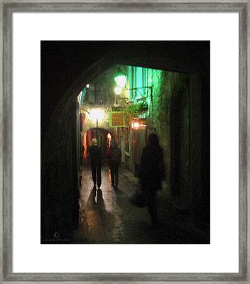 Evening Shoppers Framed Print