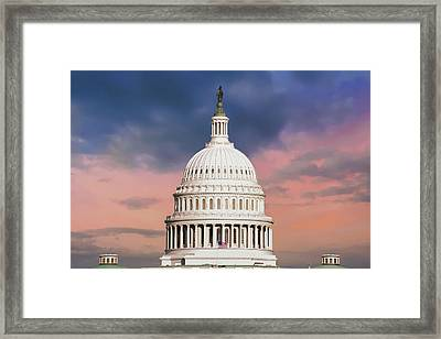 Evening Skies Over Congress - United States Capitol Building - Washington D.c. Framed Print