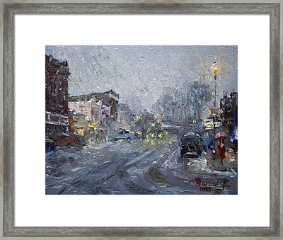 Evening Snowfall At Webster St Framed Print by Ylli Haruni