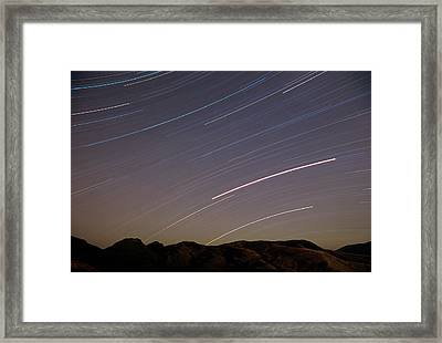 Evening Splendor-star Trails Framed Print by Sandra Bronstein