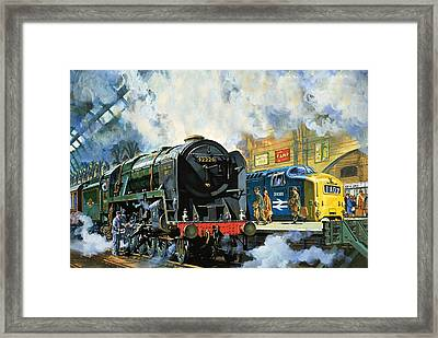 Evening Star, The Last Steam Locomotive And The New Diesel-electric Deltic Framed Print by Harry Green