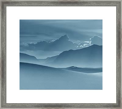 Evening Stillness - White Sands - Duvet In Blue Framed Print