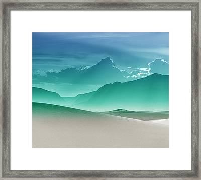 Evening Stillness - White Sands - Duvet In Sea Gradient Framed Print