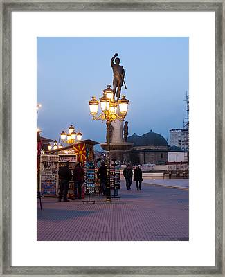 Evening Stroll In Skopje Framed Print by Rae Tucker