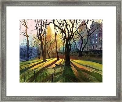 Framed Print featuring the painting Evening Sunbeams by Sergey Zhiboedov
