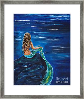 Evening Tide Mermaid Framed Print by Leslie Allen