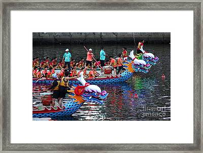 Evening Time Dragon Boat Races In Taiwan Framed Print