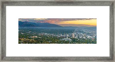 Evening View Of Salt Lake City From Ensign Peak Framed Print