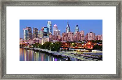Evening Walk In Philly Framed Print