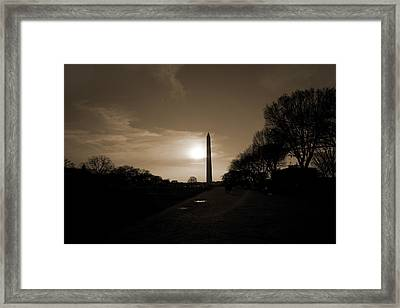 Evening Washington Monument Silhouette Framed Print by Betsy Knapp