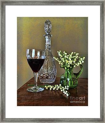 Evening Wine And Flowers  Framed Print by Luther Fine Art