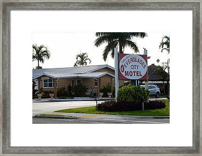 Everglades City Motel Sign Framed Print by David Lee Thompson