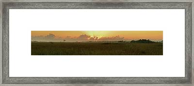 Framed Print featuring the photograph Everglades Sunrise Panorama by Stephen  Vecchiotti