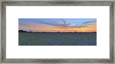 Framed Print featuring the photograph Everglades Sunset Panorama by Stephen  Vecchiotti