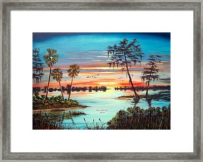 Everglades Sunset Framed Print by Riley Geddings