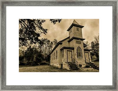 Evergreen Baptist Church In Sepia Framed Print by Jeremy Clinard