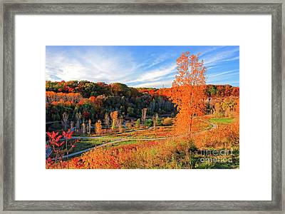 Evergreen Brick Works Autumn Framed Print by Charline Xia