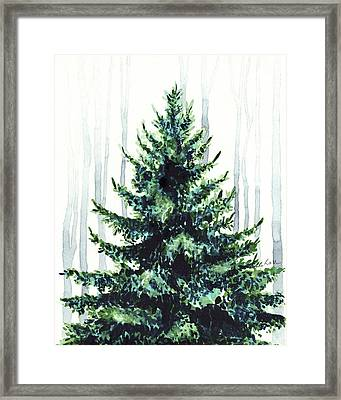 Evergreen Tree In Winter Woods Watercolor Painting Christmas Holiday Wintertime  Framed Print