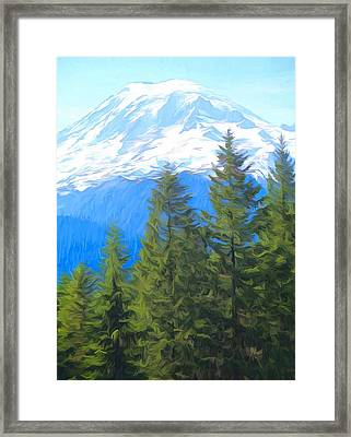 Evergreens And Mount Rainier Framed Print by Dan Sproul