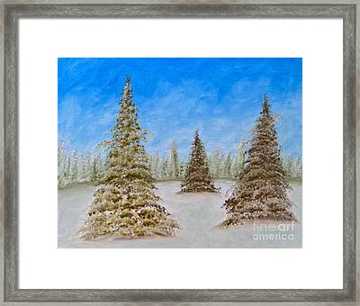Evergreens In Snowy Field Enhanced Colors Framed Print