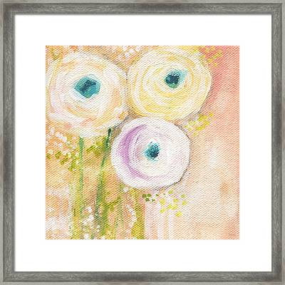 Everlasting- Expressionist Floral Painting Framed Print by Linda Woods