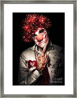 Evil Blood Stained Clown Contemplating Homicide Framed Print by Jorgo Photography - Wall Art Gallery