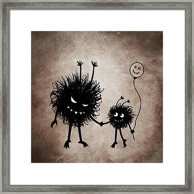 Evil Bug Mother And Child Framed Print