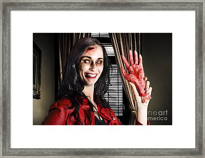 Evil Business Person Waving Hello With Sliced Hand Framed Print by Jorgo Photography - Wall Art Gallery