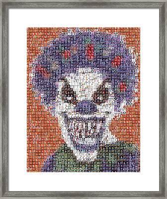 Framed Print featuring the mixed media Evil Clown Mosaic by Paul Van Scott