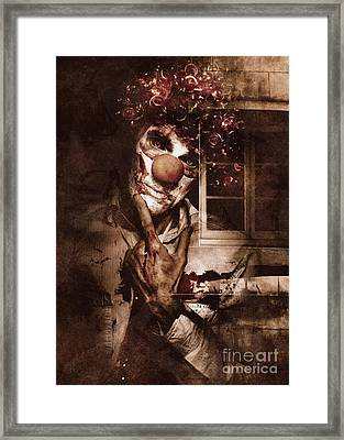 Evil Clown Musing With Scary Expression Framed Print
