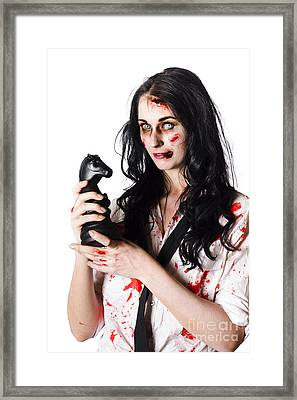 Evil Dead Business Zombie With Chess Playing Piece Framed Print by Jorgo Photography - Wall Art Gallery