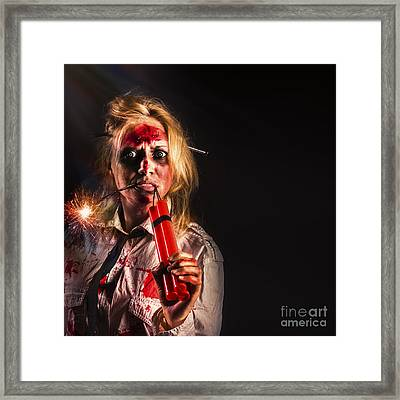 Evil Female Halloween Zombie Holding Bomb Framed Print by Jorgo Photography - Wall Art Gallery