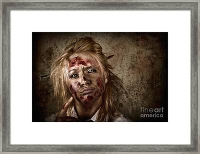 Evil Grunge Zombie Business Woman Thinking Idea Framed Print