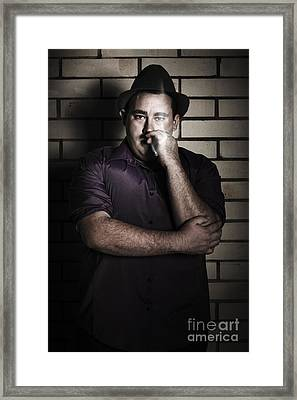 Evil Mobster Man Dragging Smoke In Night Ally Framed Print by Jorgo Photography - Wall Art Gallery