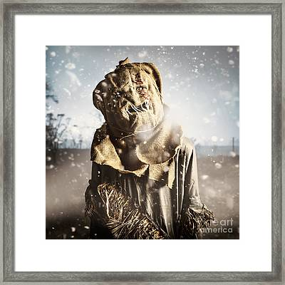 Evil Scarecrow In A Halloween Field Of Darkness Framed Print by Jorgo Photography - Wall Art Gallery