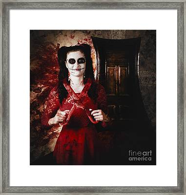 Evil Skeleton Girl With Blood Stained Scissors Framed Print