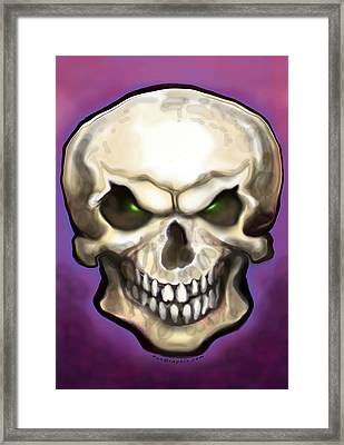 Framed Print featuring the painting Evil Skull by Kevin Middleton