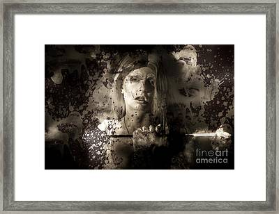Evil Vampire Woman Looking Into Bloody Mirror Framed Print by Jorgo Photography - Wall Art Gallery