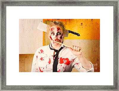 Evil Zombie Chef Thinking Up Unhealthy Food Idea Framed Print by Jorgo Photography - Wall Art Gallery