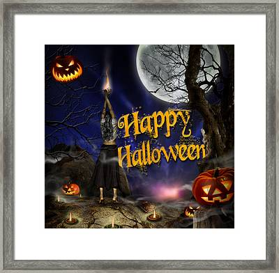 Evocation In Halloween Night Greeting Card Framed Print by Alessandro Della Pietra