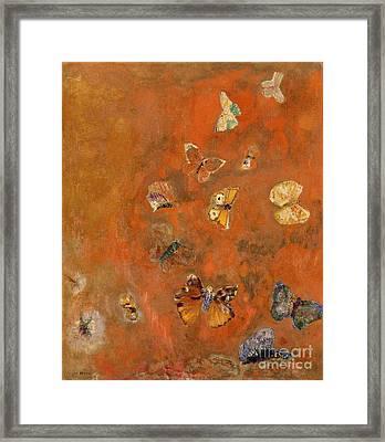Evocation Of Butterflies Framed Print by Odilon Redon