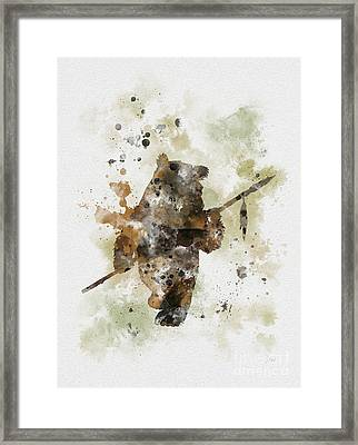 Ewok Framed Print by Rebecca Jenkins