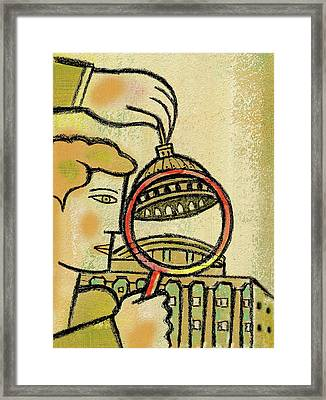 Examining  The  Federal Government Framed Print by Leon Zernitsky