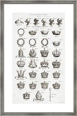 Examples Of Crowns, Coronets And Helmets Framed Print
