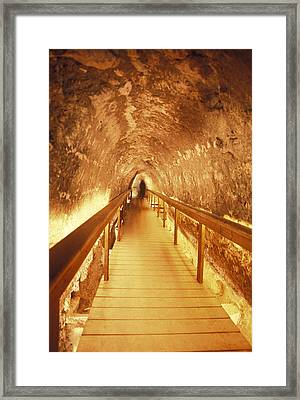 Excavations Of The Ancient Water Tunnel Framed Print by Richard Nowitz